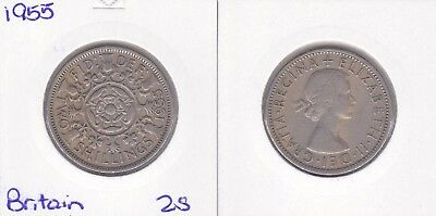 1955 Great Britain UK 2 two shillings florin