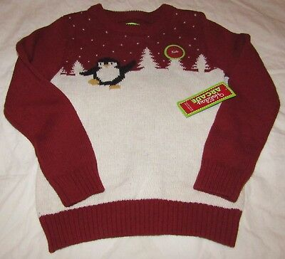 NEW Christmas Holiday Arcade Boys/Girls Penguin Sweater Red Block S 5-6 NWT