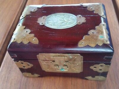 Classic Vintage Chinese Rosewood Jewelry Casket Box Jade Inlay Brass Hardware