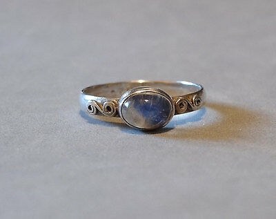Vintage Moonstone Ring Sterling Silver Clear Gemstone Simple  Size 7 Marked 925