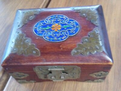 Vintage Chinese Rosewood Jewelry Casket Box Coissone Inlay Brass Hardware
