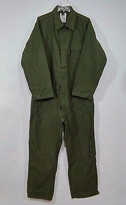 US Military issue OD Green Sateen Cotton Type 1 Mechanics Coveralls Size L Large