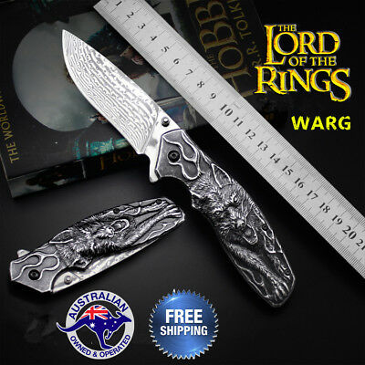 Damascus wolverine Warg Knife outdoor hunting fold dagger Stiletto Camping