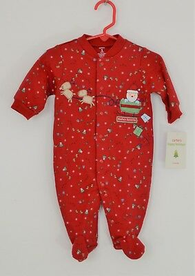 """Carter's 3 Month NWT Holiday Footed Sleep & Play, """"Santa's Favorite""""-100% Cotton"""