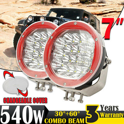 2x 7inch 540W LED CREE Driving Light Work Lamp Headlight Offroad Pickup 4WD Spot