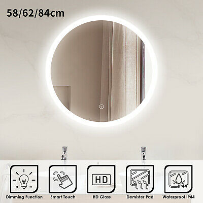 Bathroom LED Illuminated Mirror Touch Switch Large Wall Mirror 580x580/620X620