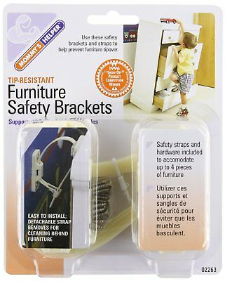 Furniture Brackets Wall Secure Straps Easily Babyproof Kids Safety (Pack of 8)