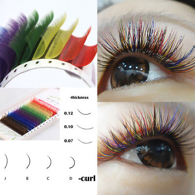 Individual Multi-Colored Eyelash Extensions Rainbow Color Lashes 8-12mm Hot sale