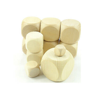 Natural Wooden Blank Plain Dices Cubes Hardwood Six Sided Toy Game 10mm - 60mm