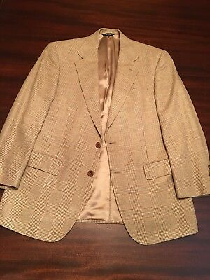 BROOKS BROTHERS Glen Plaid Wool Silk Linen Jacket Coat Italy 39 Short Lardini