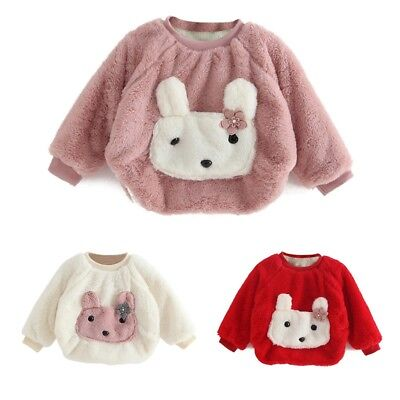 UK Toddler Kids Baby Girl Winter Warm Long Sleeve Pullover Tops Blouses Clothes