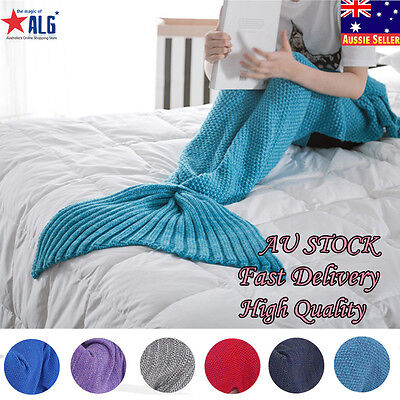 Handmade Winter Mermaid Tail Crocheted Cocoon Sofa Quilt Rug Knit Beddin Blanket