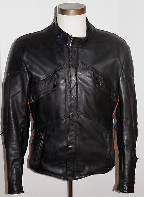 VINTAGE 1990s YAMAHA CAFE RACER BLACK LEATHER MOTORCYCLE JACKET! RIBBED SIDES 42