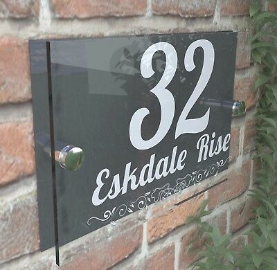 Anthracite Classic House Sign Door Number Street Address Plaque Modern Dec1WA