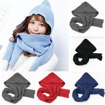 Fashion Women Knitted Scarf Hat Braided Hooded Skiing Scarves Snood Wraps Winter