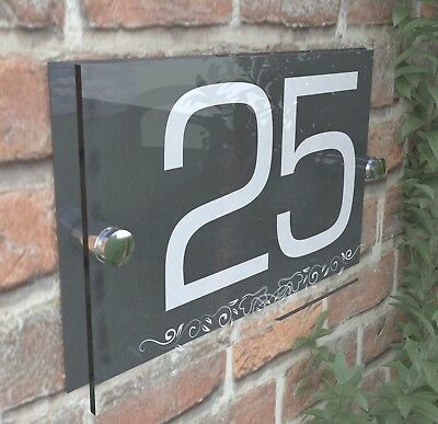 Anthracite Classic House Sign Door Number Street Address Plaque Modern Dec8WA