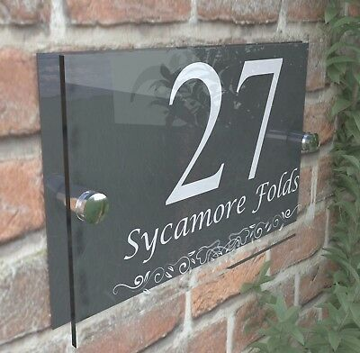 Anthracite Classic House Sign Door Number Street Address Plaque Modern Dec13WA