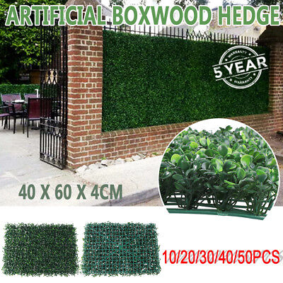 10/20/30 pcs Artificial Boxwood Hedge Fake Vertical Garden Green Wall Ivy Fence