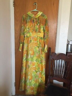 Vintage 60's Psychedelic Floral Gown Hippy