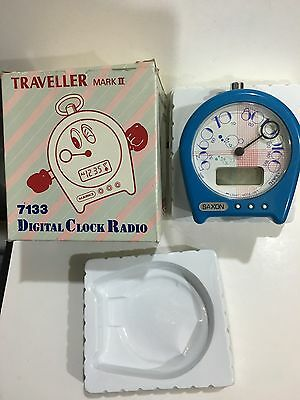 VINTAGE  TRAVELLER II CLOCK RADIO  IN BLUE AM(MW)- BAND FROM THE 1970s