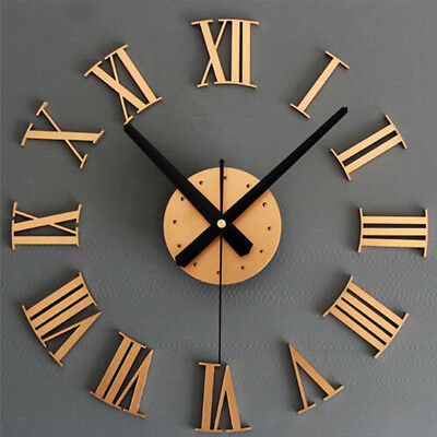 DIY Large Roman Numerals Wall Sticker Clock Home Office Modern Decoration