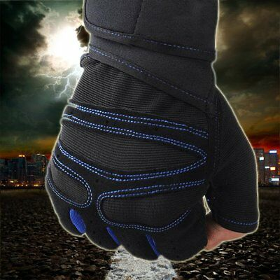Weight Lifting Padded Leather Gloves Fitness Body Building Gym Training Sports