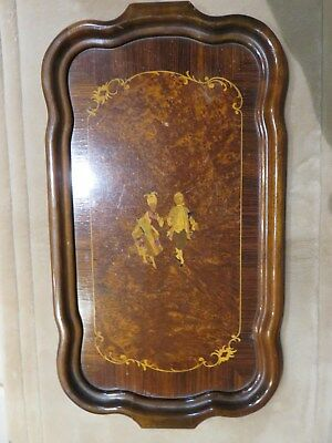 """Antique Mahogony Inlaid  Tray With Victorian Man And Women Motif 22"""" x 11"""""""