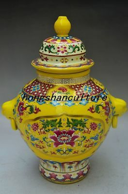 Delicate Chinese Colorful Porcelain Hand Painted Flowers Jar/pot