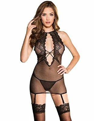 Elegant Dotted Mesh And Lace Chemise Set
