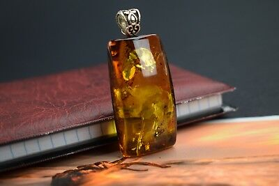 Genuine Natural Baltic Amber Pendant Honey Yellow Color Polished Silver Detail