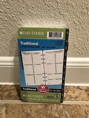 Day-Timer 2018 Planner Refill 2 Pages Per Week Size 3 Traditional Black Tabs New