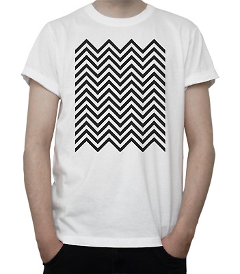 TWIN PEAKS Zig-Zag PATTERN T-Shirt DAVID LYNCH Chevron FLOOR Curtains GREY White