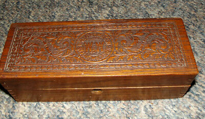 Vintage Wheeler and Wilson Oak Sewing Machine Accessories Box Dovetailed joints