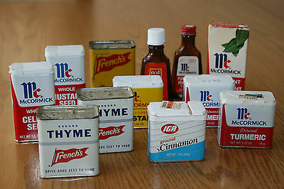 LOT of 12 VTG SPICE TINS BOTTLES McCORMICK, FRENCH'S MUSTARD, THYME IGA CINNAMON
