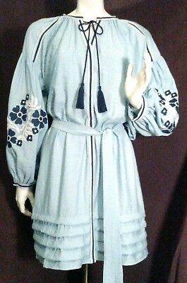 """New w/Tags Sz-Sm """"Chelsea & Violet"""" Powder Blue Embroidered Peasant Dress w/Slip"""