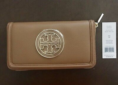 New Tory Burch Amanda Zip Continental Wallet in Saffiano Leather Brown $195