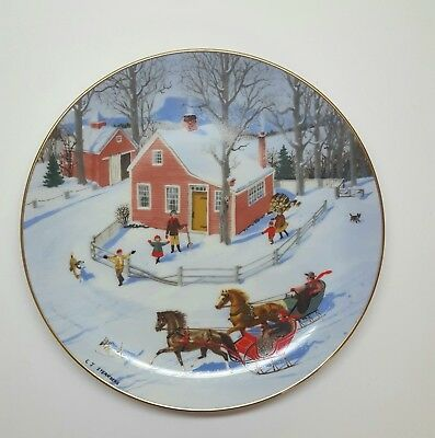 An Old Time Country Winter THE RACE THROUGH TOWN Plate Danbury Mint Horse Sleigh