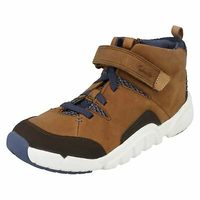 Clarks TRI MIMO TAN Boys Tan Hi Combi Leather Shoes Boots 11-1 F G Fit BOXED