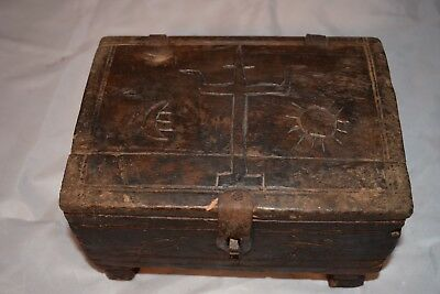 orig $499-NEPAL SHAMANS BOX, TIKKA STAINS INSIDE EARLY 1900S 10""