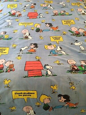 PEANUTS ~ Vtg 1960s Twin Flat Sheet Charlie Brown Snoopy Tastemaker Happiness Is