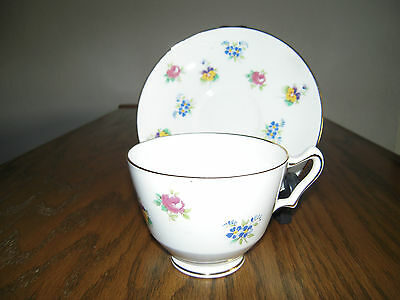 Crown Staffordshire Bone China Cup And Saucer Rose Violet Pansey Flowers