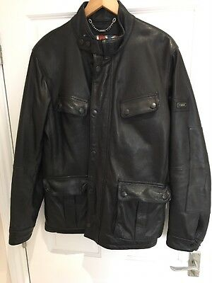 Barbour International Sadler Black Leather Jacket ( mint used condition )