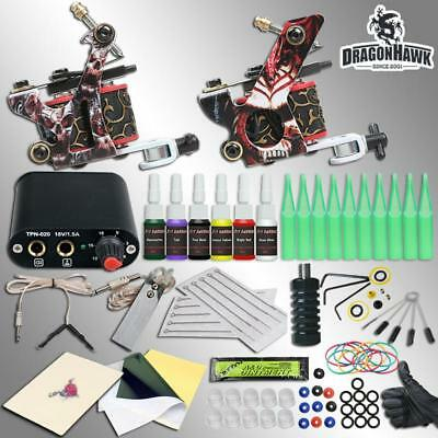 Tattoo Kit Machine Power Supply Complete Gun Needles Ink Guns Set 2 Inks Color