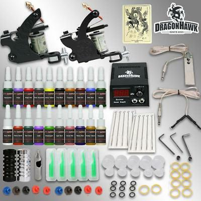 Tattoo Kit Machine Power Supply Complete Needles Ink Guns Set Gun Color Inks Tip