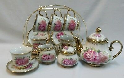 New 15Pc Country Rose Design Porcelain China Tea /coffee Set  With Gold Stand