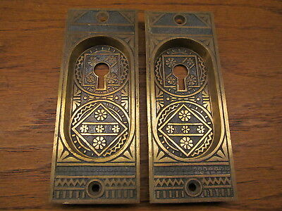"Old Eastlake ?? "" Linde "" ?? Pocket Door Escutcheons...backplates...ornate"