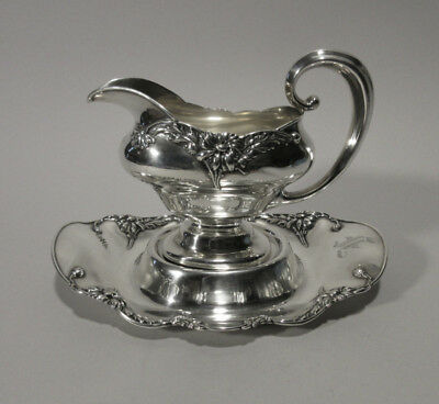 """Alvin Sterling Gravy Boat & Under Tray in the """"Floral Series - Daisy"""" Pattern"""