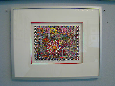 "***NEU*** James Rizzi 3D-Grafik, ""Fly me into the moon"" A/P Original, gerahmt"
