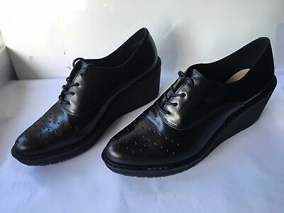 Clarks game oval leather wedge lace UP size 7 D ladies WOMENS BOOTS shoes BLACK