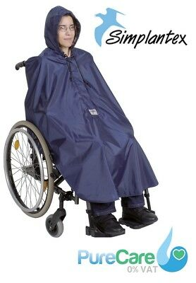 Simplantex Wheelchair Poncho Waterproof Cover With Hood Disability Rain Mac Coat